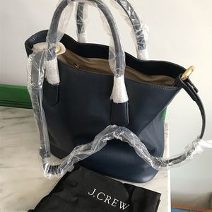 J Crew Leather Navy Handbag